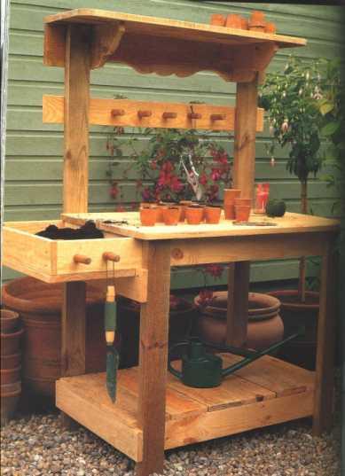 """Garden Greenhouse Potting Bench Plans"","