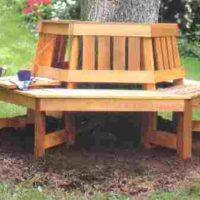 Wrap around tree bench with fold down tray
